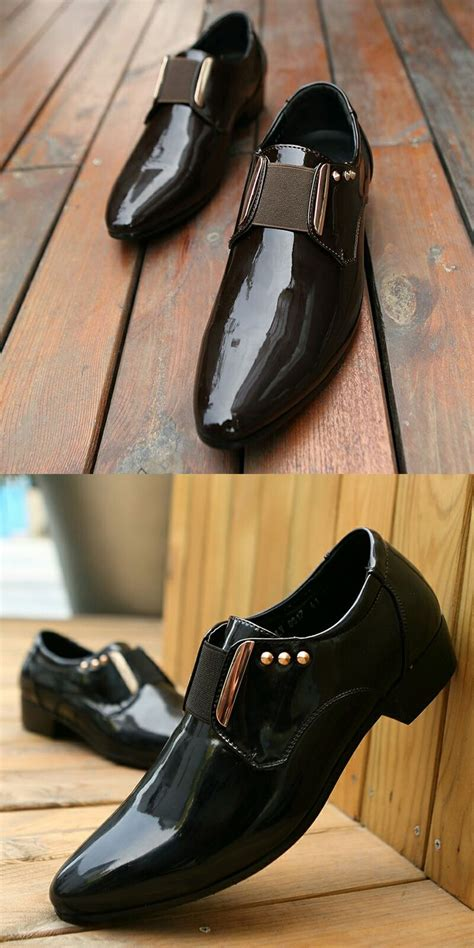 dress shoes patent leather black business wedding shoes flats pointed toe shining