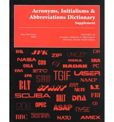 supplement dictionary acronyms initialisms abbreviations dictionary