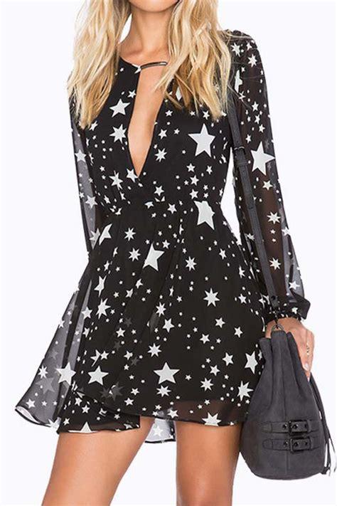 black star print long sleeve sexy chiffon dress