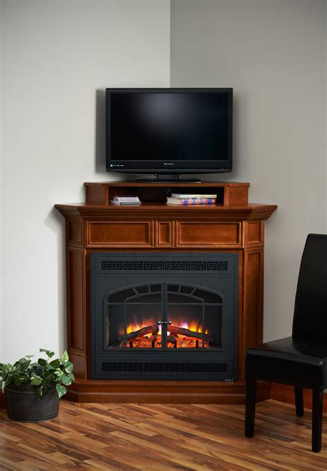 wooden corner tv stand with fireplace decofurnish