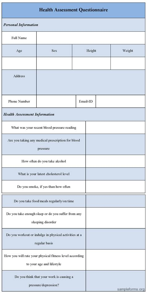 printable health assessment questionnaire 9 best images of health assessment form printable health