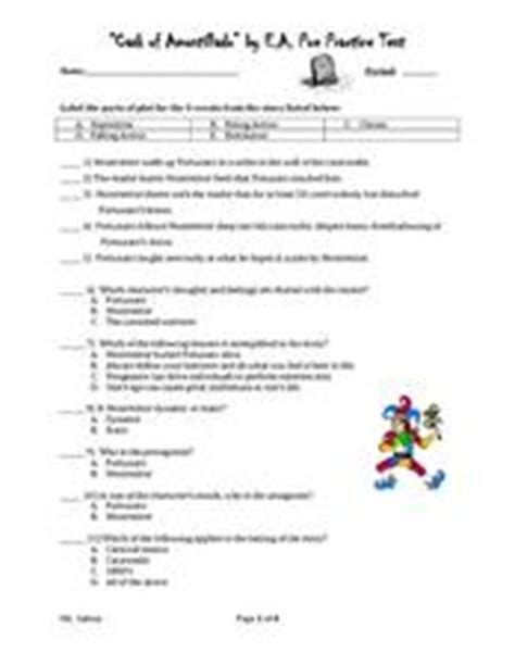 The Cask Of Amontillado Worksheet Answers by Quot Cask Of Amontillado Quot By E A Poe Practice Test 9th Grade