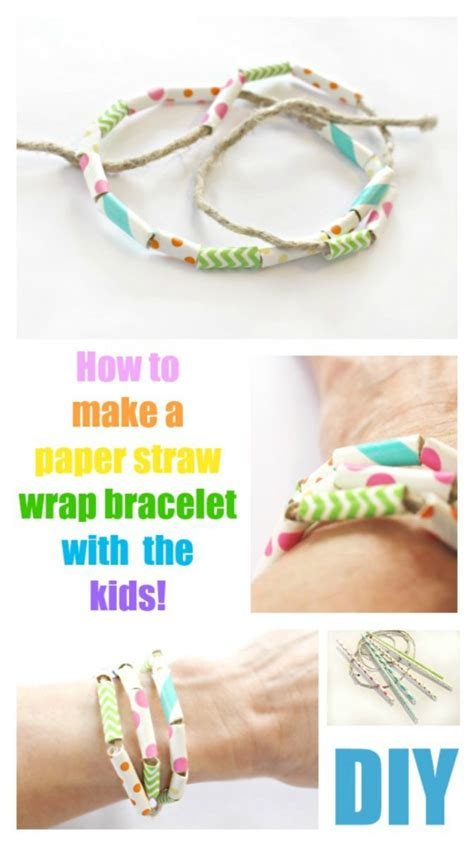 How To Make A Paper Wristband - paper straw wrap bracelet crafts for