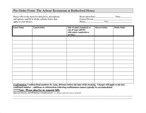 7 food order form template timeline template