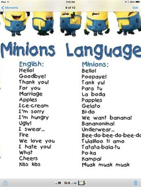 speak minionese minion board minions language minions language