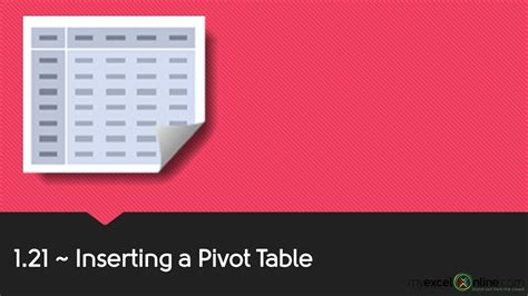 how to insert pivot table 1 21 inserting an excel pivot table excel pivot tables