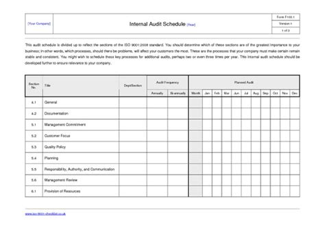 27 Images Of Internal Audit Schedule Template Excel Leseriail Com Iso 9001 Audit Schedule Template