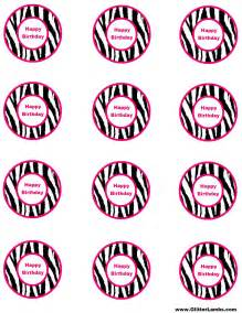 Template For Cupcake Toppers by Glitter Lambs Pink Zebra Food Label Cards And Free