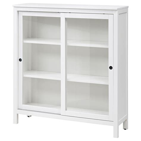 White Storage Cabinet With Glass Doors Hemnes Glass Door Cabinet White Stain 120x130 Cm Ikea