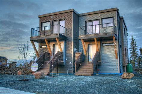 duplex homes smplymod prefab duplex harnesses energy efficient design in canada s cold northwest territories
