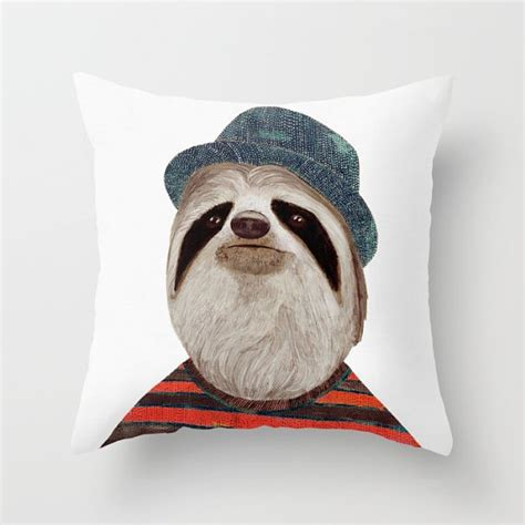 sloth throw pillow animal pillow funky pillow groovy