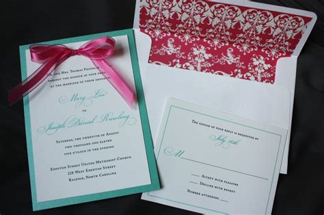 pink and aqua wedding invitations lagoon turquoise white wedding invitations with pink bow patterned envelope liner