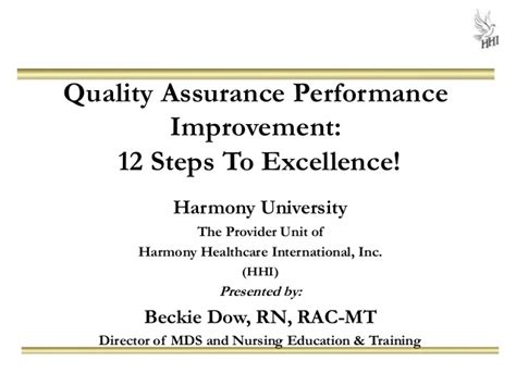 Quality Assurance Performance Improvement 12 Steps To Excellence Quality Assurance Performance Improvement Template