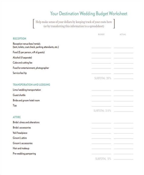 wedding budget form sle budget forms