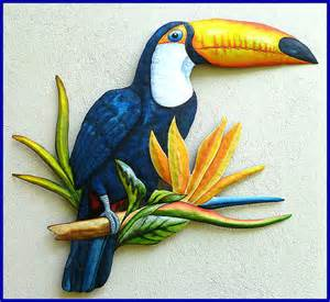 parrot decorations home painted toucan metal tropical wall decor painted