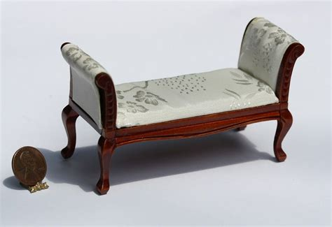 damask settee dollhouse furniture cherry settee in white satin damask