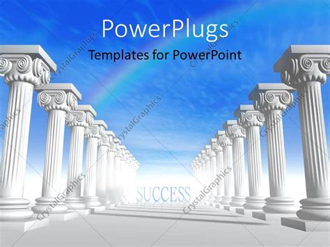 Powerpoint Template Conceptual Iconic Style Greek Architecture With Rainbow In Sky 27884 Ancient Greece Powerpoint Template