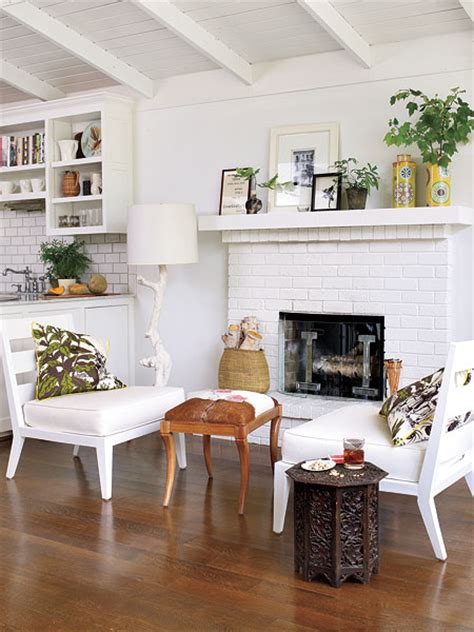 Living Room With White Brick Fireplace White Brick Fireplace Transitional Living Room