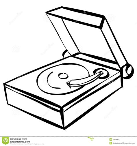 coloring book album listen records player outline royalty free stock image image