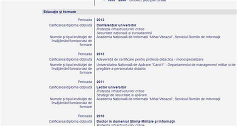 academia națională de informații contrazice cv ul lui
