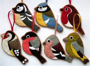 british birds set of 7 felt christmas decorations folksy