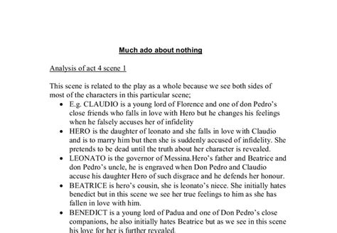 Much Ado About Nothing Analysis Of Act 4 Scene 1 Gcse