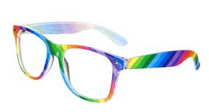 color glasses multi colour rainbow clear lens wayfarer glasses