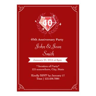 40th wedding anniversary invitation templates 40th ruby wedding anniversary invites 101 40th ruby