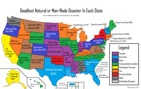 map of us states wiki deadliest or made disaster in each us