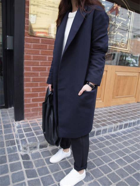 Longcoat Finny Navy Jaket Sweater 0109 coat korean fashion korean style coat blazer blazer navy blue grunge