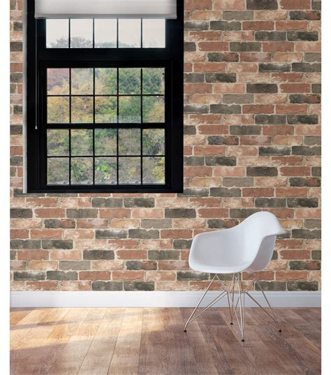 peel and stick wallpaper wallpops 174 nuwallpaper peel and stick wallpaper newport reclaimed brick joann jo ann