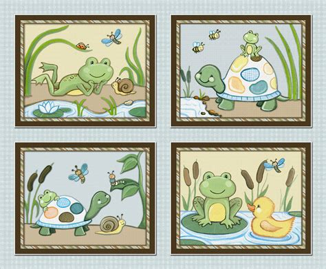 pond friends set of four 8x10 wiggle bugs frog turtle