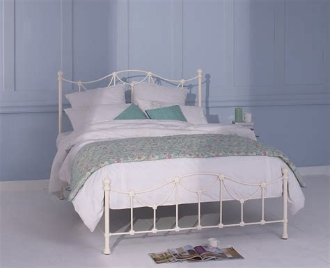 4ft bed frame obc carie 4ft 6 glossy ivory low footend metal bed