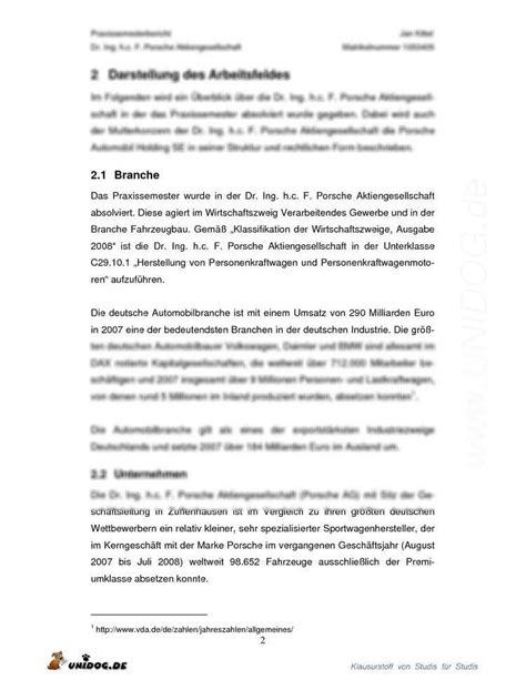 Praktikum Vorbericht Vorlage Unidog Praxisphasenbericht Porsche Ag