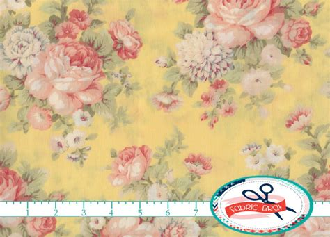 shabby rose fabric by the yard fat quarter floral fabric pink yellow peony fabric shabby chic