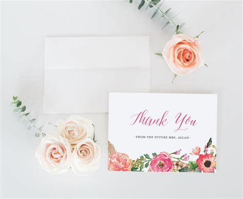 Thank You Card Bridal Shower Template by Bridal Shower Thank You Cards Printable Bridal Shower Thank