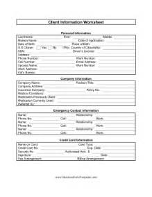Client Information Form Template Free by Client Information Worksheet Template