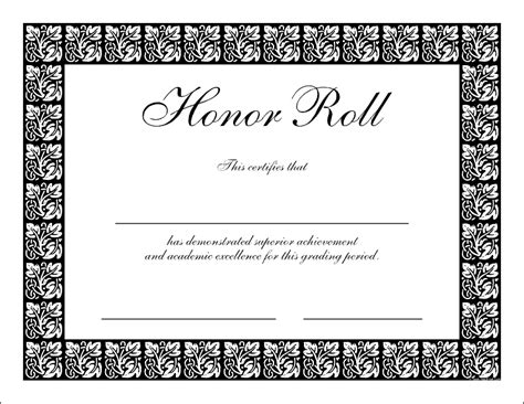 printable honor roll certificate template
