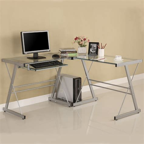 Walker Edison 3 Piece Contemporary Desk Silver With Clear Silver Computer Desk
