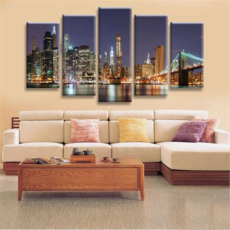 home decor manhattan high quality 5 panels home decor wall art painting prints