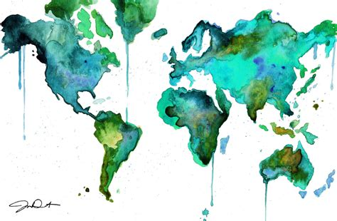 The World In Watercolor by Watercolor World Map No 6