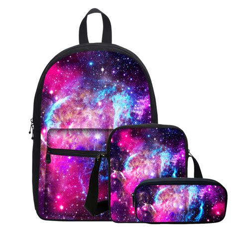 Set Backpack Sling Bag galaxy space print backpack canvas school equipment bag