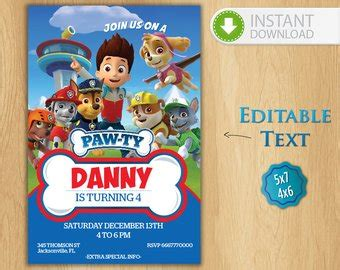 Paw Patrol Invitation Editable Text Customizable Paw Patrol Birthday Party Invite Chase Paw Patrol Birthday Invitation Template