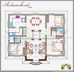 3 Bedroom House Floor Plans With Models Three Bedrooms In 1200 Square Feet Kerala House Plan