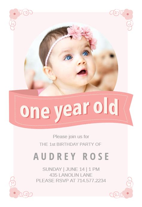 baby 1st birthday invitation card template pink ribbon free birthday invitation template