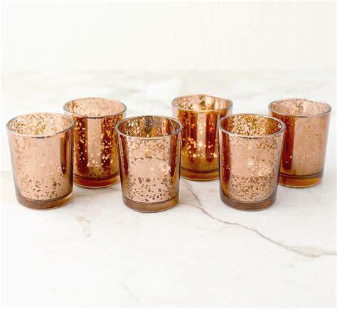 tea light votives bulk set of 60 copper gold mercury glass candle votive