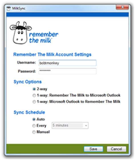 remember the milk services / milksync for microsoft