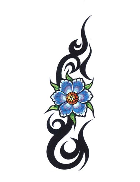 blue flower tattoo designs blue flowers tribal free design ideas