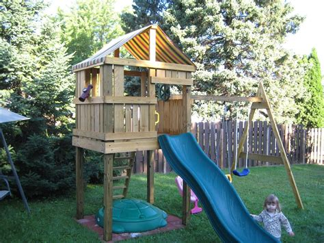 wooden swing set with fort ideas for swing set and fort google search outside
