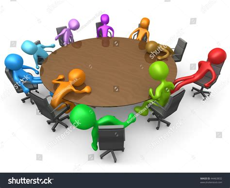 3d people sitting exhausted around a meeting table stock
